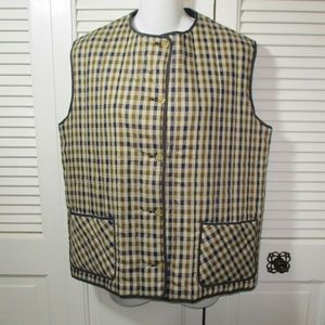 Aquascutum Check & Navy Blue Reversible Vest 14